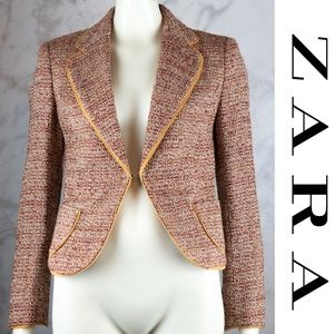 Zara Brown Tan Cropped Tweed Blazer Jacket 8